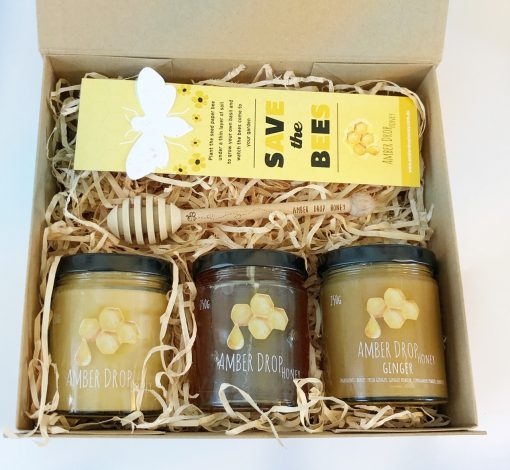 gift box with selection of honeys
